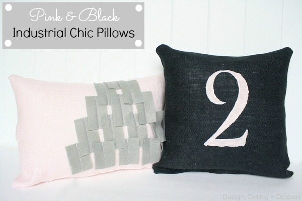 Pink and Black Industrial Chic Throw Pillows by designdininganddiapers.com
