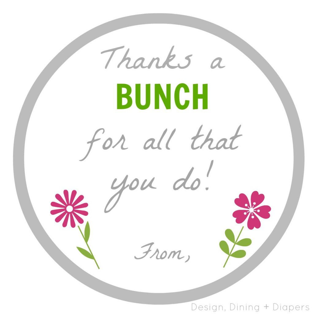Thanks A Bunch Printable By Design, Dining + Diapers
