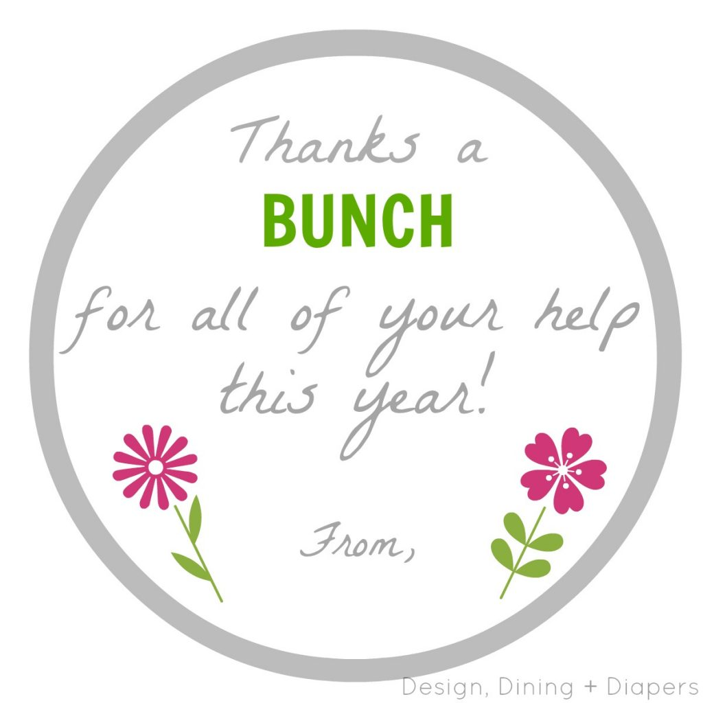 Thanks A Bunch Printable by Design, Dining + Diapers watermark