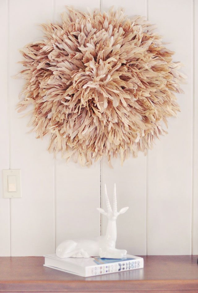 7-DIY african juju hat - feather wall art