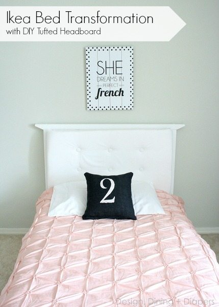 Basic Ikea Bed Transforamtion with DIY Tufted Headboard via @tarynatddd