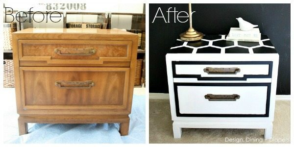 Honeycomb Side Table Makeover Before and After