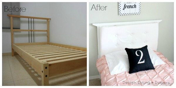 Upcycled Ikea Bed with DIY Tufted Headboard via @tarynatddd