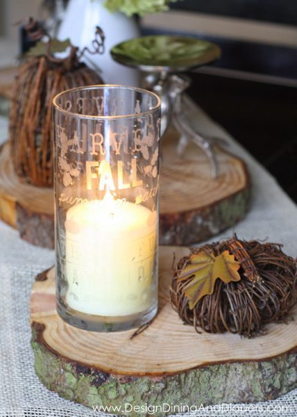 Learn How to make this simple yet festive Glass Etched Candle Holder For Fall Using Subway Art via @tarynatddd
