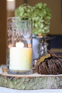 Etched Glass Candle Holder For Fall