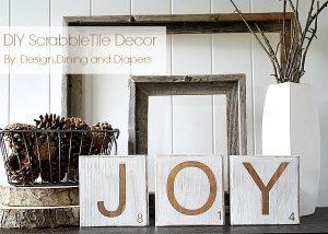 Joy Scrabble Tile Decorations