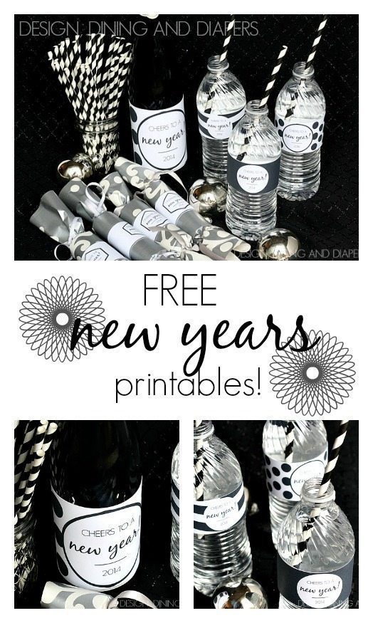 Free New Years Printables- such an easy way to add personalization to your party!