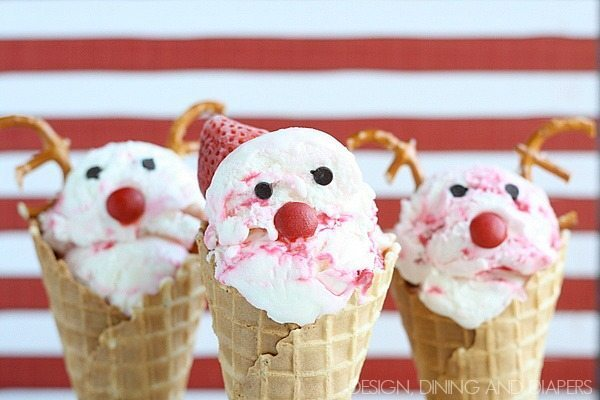 Ice Cream Cone Santa and Reindeer. These are too cute! via @tarynatddd