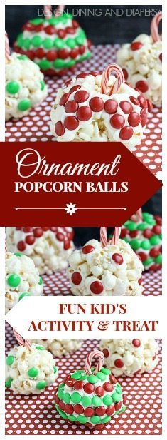 Ornament Popcorn Balls! What a fun kid's activity and treat during the holidays! via @tarynatddd