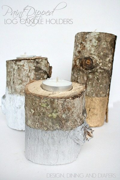 Paint Dipped Log Candle Holders! How fun are these? Great for the holidays but you could keep them up year round too!