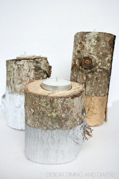 Paint Dipped Log Candle HoldersPaint Dipped Log Candle Holders! How fun are these? Great for the holidays but you could keep them up year round too!