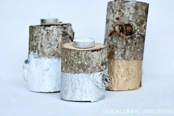 Paint Dipped Log Candles via @tarynatddd