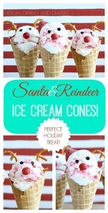 Santa and Reindeer Ice Cream Cones! These look so easy to make! via @tarynatddd
