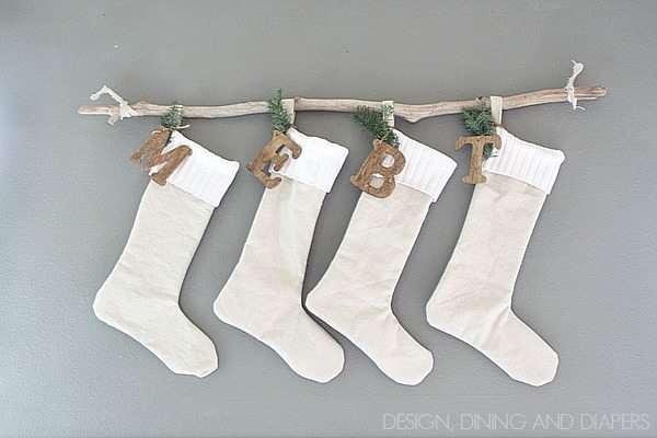 Stockings Hung With A Branch- great alternative if you don't have a mantel!