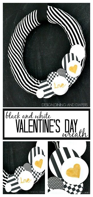 A different take on a Valentine's Day Wreath. Black and white with a hint of gold! via designdininganddiapers.com