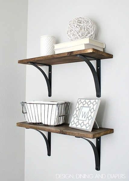 DIY Rustic Bathroom Shelves! Easy and inexpensive. via designdininganddiapers.com