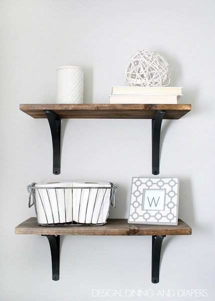 DIY Rustic Bathroom Shelving via designdininganddiapers.com