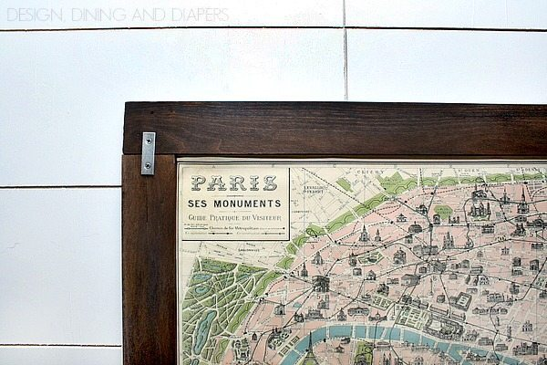 DIY Rustic Frame With Wrapping Paper Map! via designdininganddiapers.com