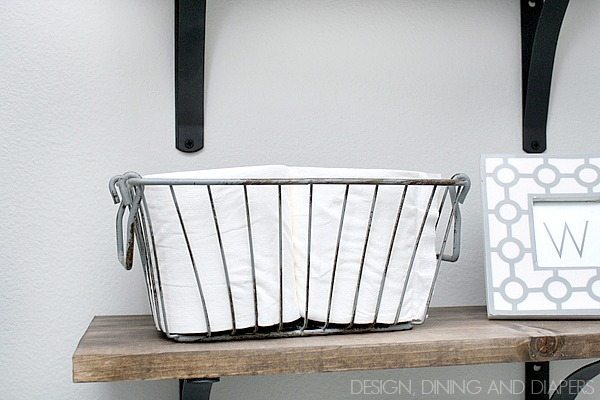 DIY Rustic Shelving! Perfect for a small bathroom via designdininganddiapers.com