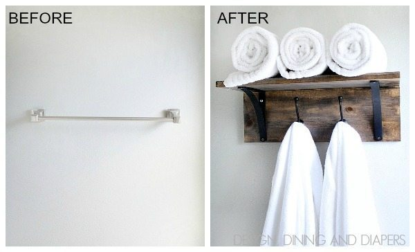 DIY Towel Rack Before and After