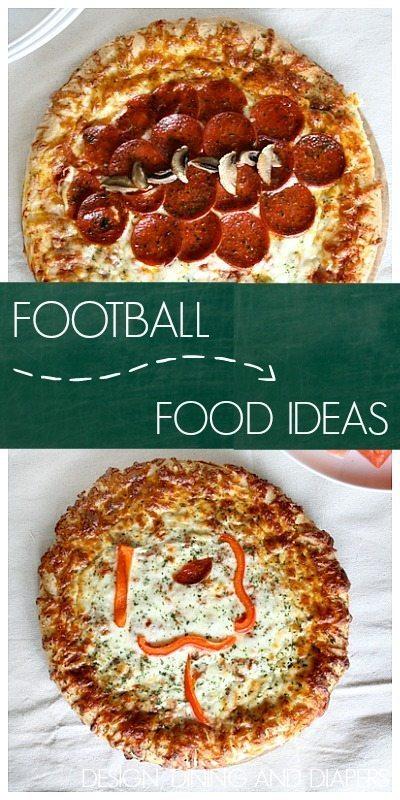 FOOTBALL FOOD IDEAS USING PIZZAS VIA DESIGNDININGANDDIAPERS.COM