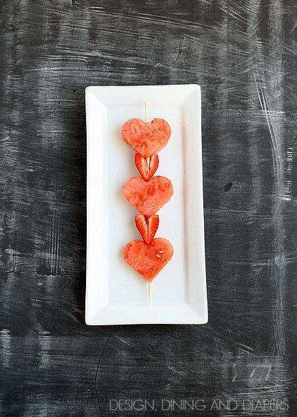 Heart Fruit Kabobs! Fun treat for Valentine's Day and kid friendly too. designdininganddiapers.com