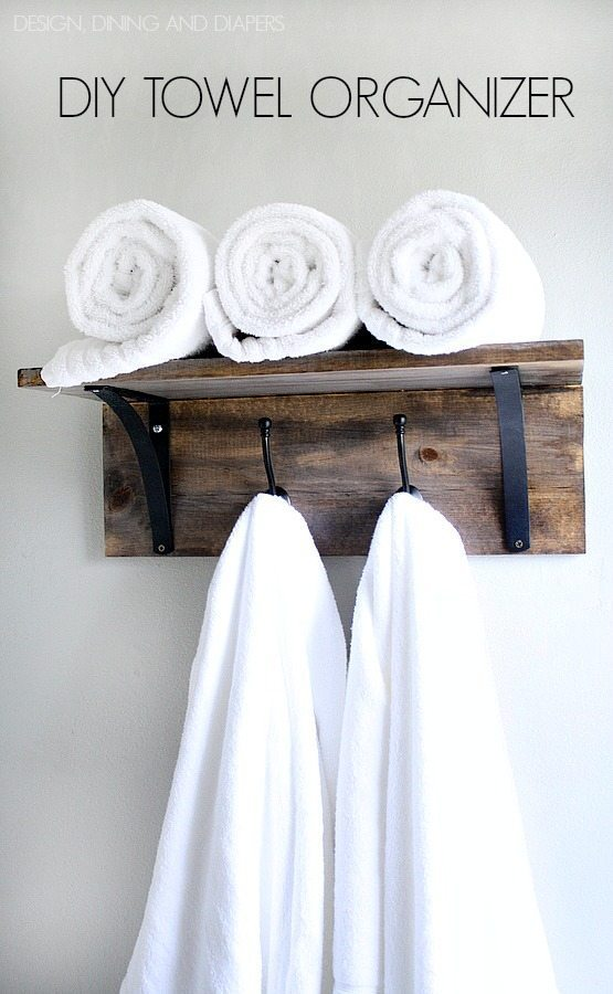 Rustic DIY Towel Organizer and Rack! Saves space and looks really easy to make. Tutorial included. via @tarynatddd