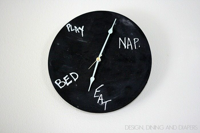 Chalkboard Clock! Inspire by Crate and Barrel, learn how to make it in 2 steps. via @tarynatddd