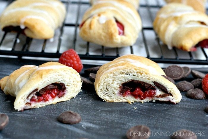 Crescents filled with Ghirardelli wafers and raspberries. So delicious and easy. designdininganddiapers.com