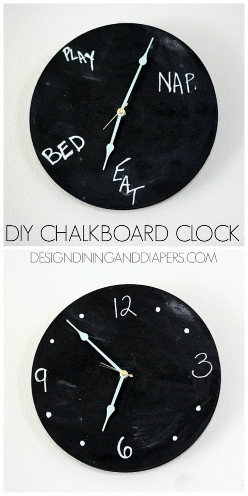 DIY Chalkboard Clock! Really fun idea for a kid's room or kitchen. via @tarynatddd
