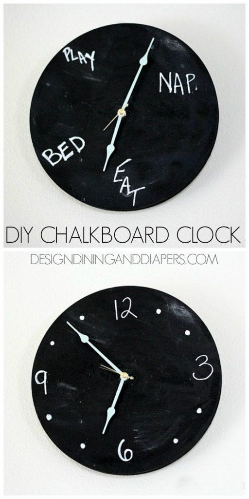 DIY Chalkboard Clock! Really fun idea for a kid's room or kitchen. via @tarynatddd