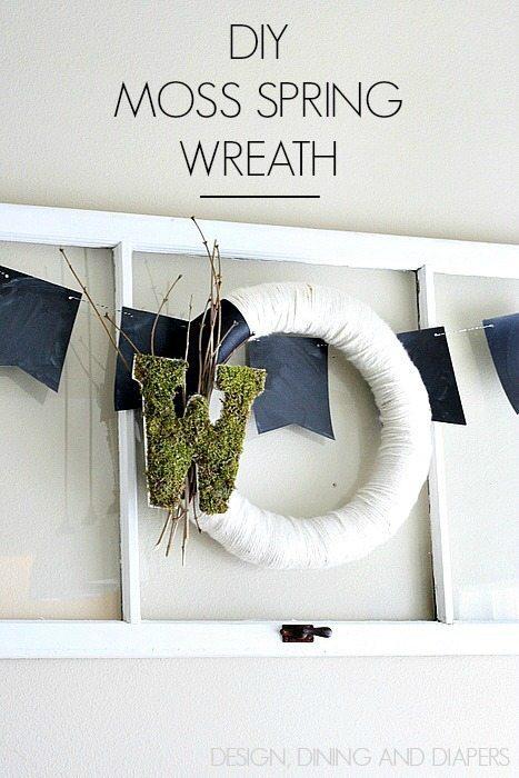 DIY Modern Spring Wreath with moss monogram
