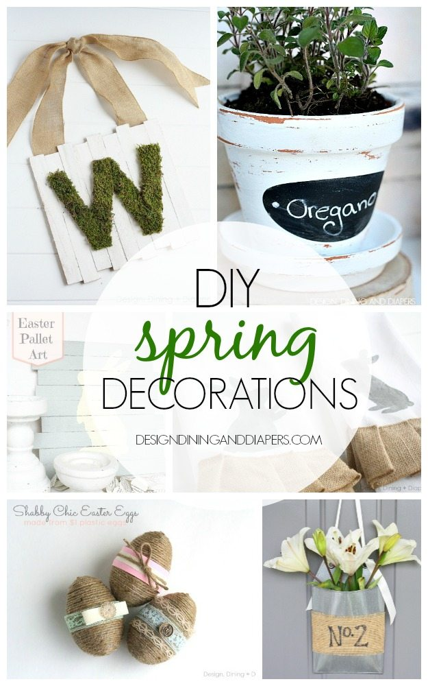 DIY Spring Decorations! Lots of great ideas for both Easter and Spring via designdininganddiapers.com
