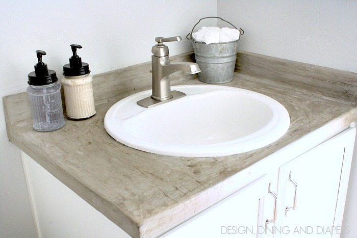 Faux Concrete Countertops! An easy solution for an industrial look. via designdininganddiapers.com