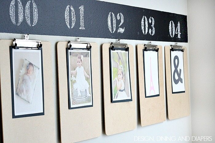 Fun way to display year-by-year kid's photos! via designdininganddiapers.com