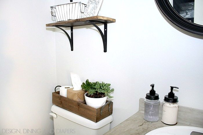 Modern Farmhouse Bathroom! Such a transformation for a tiny space!