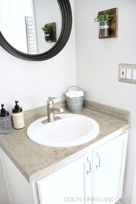 Modern Farmhouse Half-Bath Makeover! Go see the before, so refreshing. via designdininganddiapers.com