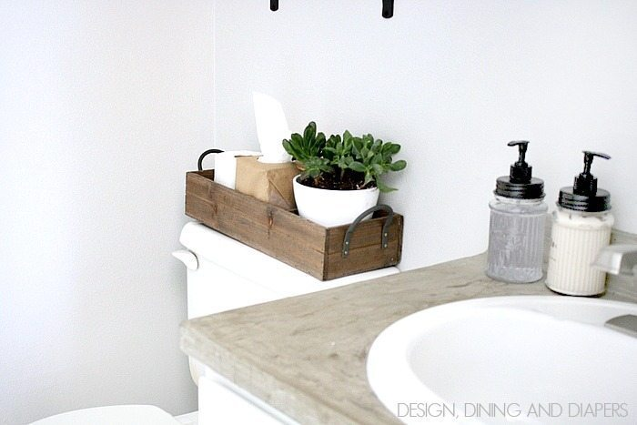 Modern Farmhouse Half-Bath Makeover! Great ideas for decorating on a budget. via designdininganddiapers.com