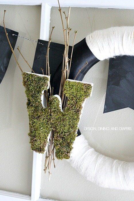 Moss Monogram Wreath via @tarynatddd
