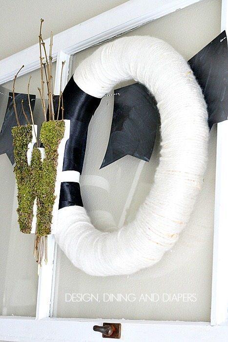 Moss Monogram Wreath via designdininganddiapers.com