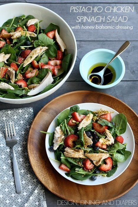 Pistachio Chicken Spinach Salad with honey balsamic dressing via designdininganddiapers.com