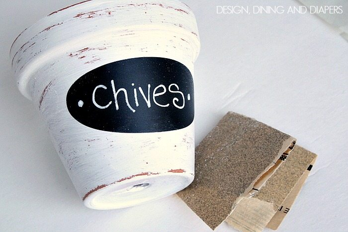Sand Pots for a distressed look via designdininganddiapers.com