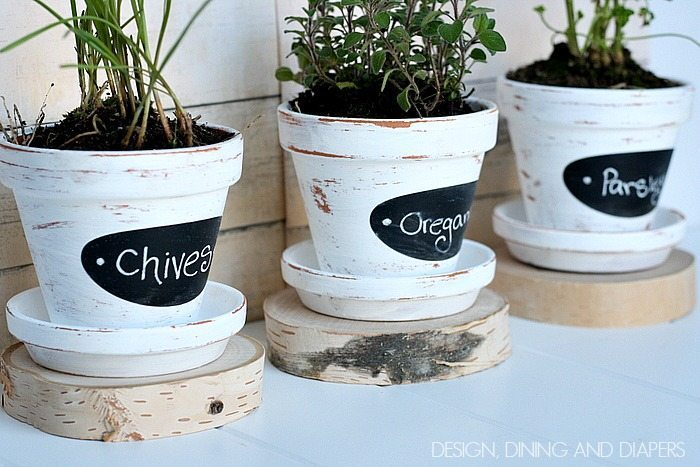 These DIY herb pots are so cute! via designdininganddiapers.com