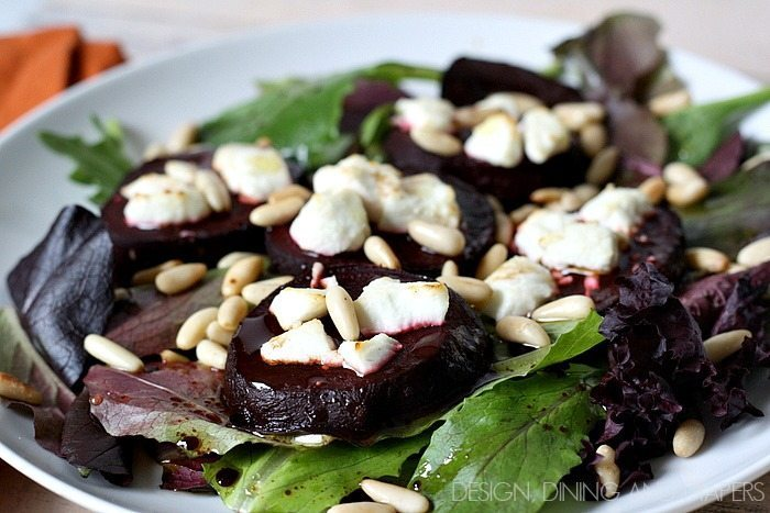 Warm Beet and Goat Cheese Salad- quick lunch option via designdininganddiapers.com
