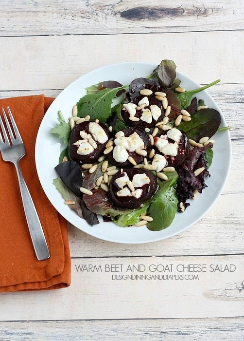 Warm Beet and Goat Cheese Salad via designdininganddiapers.com