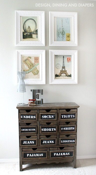Calendar Wall Art and Chalkboard Dresser - fun combo!