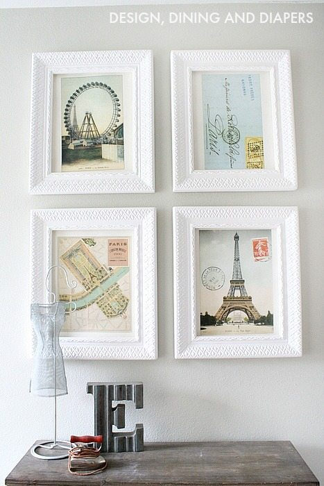 Wall Art Made From An Old Calendar of Paris with White Frames.