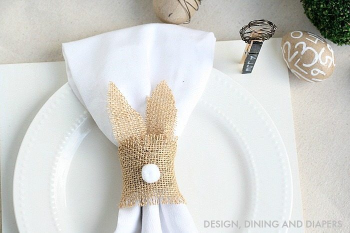 Easter Place Setting with DIY Bunny Napkin Ring
