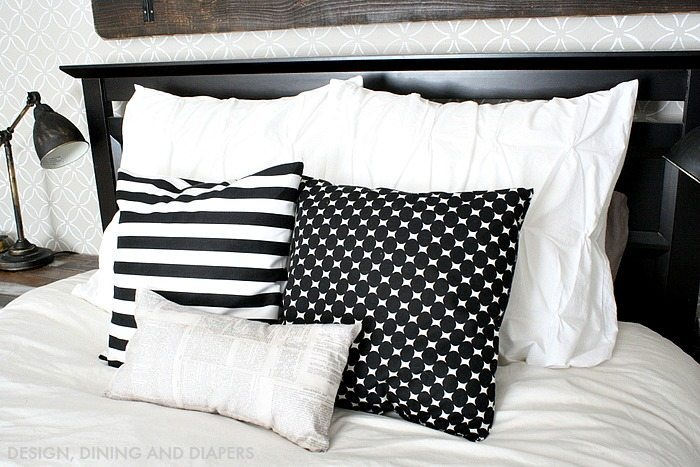 Modern Farmhouse Bedroom - DIY throw pillow. Mixing patterns!