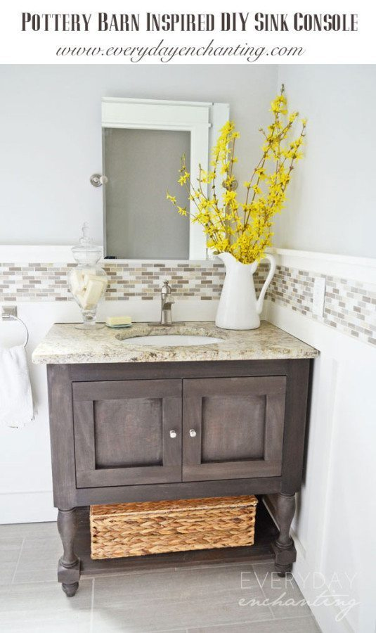 Pottery Barn Inspired Sink Console By Everyday Enchanting